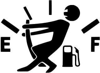 Empty Gas Gauge, Stick Figure, Low Fuel, Out of Gas Decal Sticker for Car Bumper Window Laptop Wall