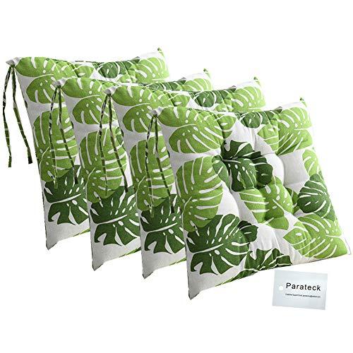 4 cojines para silla de comedor con lazos, 40 x 40 cm, cojín para silla de jardín, oficina, cojín de salón (hojas verdes)