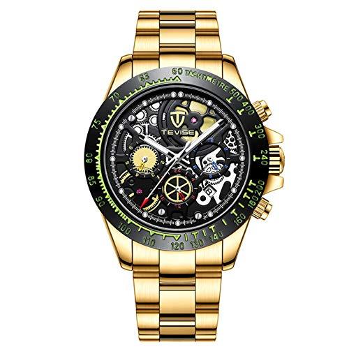 JTTM Reloj Mecánico Automático para Hombre, Manecillas Luminosas, Esfera Hueca, 3 ATM, Resistente Al Agua, Reloj Deportivo,Gold Black