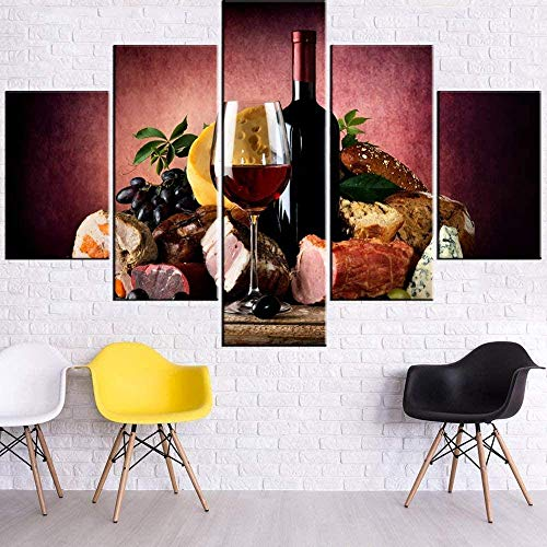 5 piezas de arte Lienzos de pinturas Cuadros para la sala de estar Vino tinto y queso Pinturas de alimentos Impresiones de múltiples paneles en lienzo Copa de vino Botella Arte de la pared Arte c