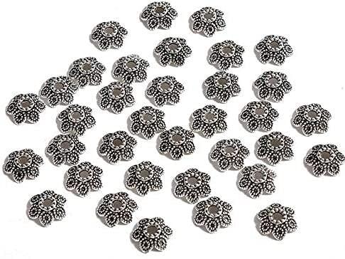 LiuliuBull 50 unids Silver 6-14mm Flores Filigrana Petal Fin Caps Taps Hallazgos Espaciador Charms Tapa de Cuentas para joyería Fabricación de Suministros (Color : Style03 10mm 50pcs)