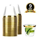 TOROTON 60 Copas de Fiesta Plástico con Borde Dorado, 250ml Copas de Vino Duro Transparente Reutilizables, para Catering Fiestas Cumpleaños Bodas - Oro