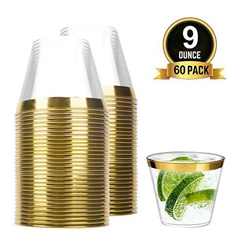 TOROTON 60 Stück Kunststoff Becher, 250ml Wiederverwendbare Trinkbecher zum Feiern, Hochzeiten, Picknick, Party, Camping, Geburtstag - Gold