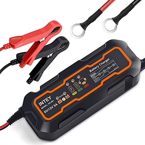 INTEY Batterieladegerät 5.0, Vollautomatisches KFZ Akku Ladegerät, Batterie Ladegerät Auto und Motorrad, Batterien-Winter Batterieschutz 6/12 V 5A