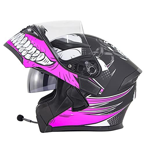 Cascos De Motocicleta, Casco de Moto Modular Bluetooth Integrado con Doble Visera Anti Niebla Cascos de Motocicleta Certificado DOT/ECE para Hombres Mujeres C,XXL=61~62CM