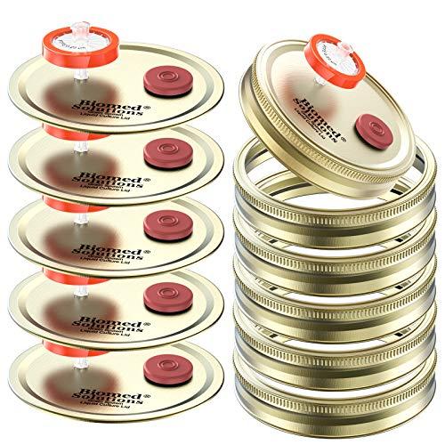 Lot de 6 couvercles de culture liquide à ouverture large avec seringue PTFE 0,22 um et ports d'injection auto-cicatrisants de 20 mm pour la culture de champignons (doré)