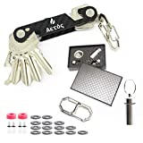 Smart & Compact Key Holder Organizer Keychain - Made of Carbon Fiber & Stainless Steel- Pocket Organizer Up to 18 Keys
