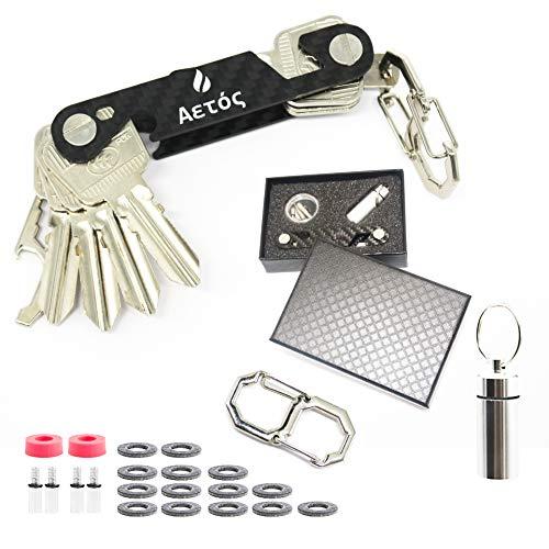 Portachiavi intelligente e compatto, in fibra di carbonio e acciaio inox, organizer tascabile fino a 18 chiavi