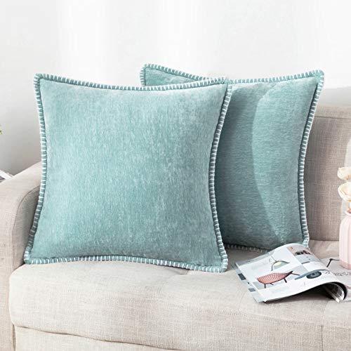 Set di 2 federe per cuscino decorativo in ciniglia, per divano, soggiorno, azzurro, 40 x 40 cm, imbottitura non inclusa nella confezione