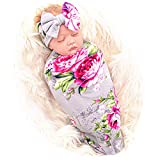 Galabloomer Newborn Receiving Blanket Headband Set Baby Flower Rose Swaddle with Big Bow (Gray)