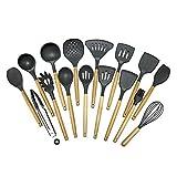 Utensilios de cocina Utensilios de cocina Set Los mangos de madera naturales utensilios de cocina de cuchara for 16pcs utensilios de cocina antiadherente Los mejores artilugios de herramientas de coci