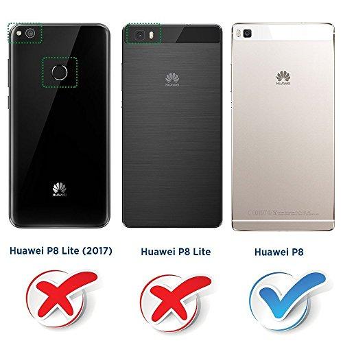 COODIO Handyhülle für Huawei P8 Handy Hülle, Huawei P8 Hülle Leder Handytasche für Huawei P8 Klapphülle Tasche, Schwarz/Rot - 2
