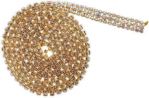 N-K 1 Yard Crystal Close Chain Cake Topper Brautkleid Dekoration-Silber Weiß-Golden Nettes Design