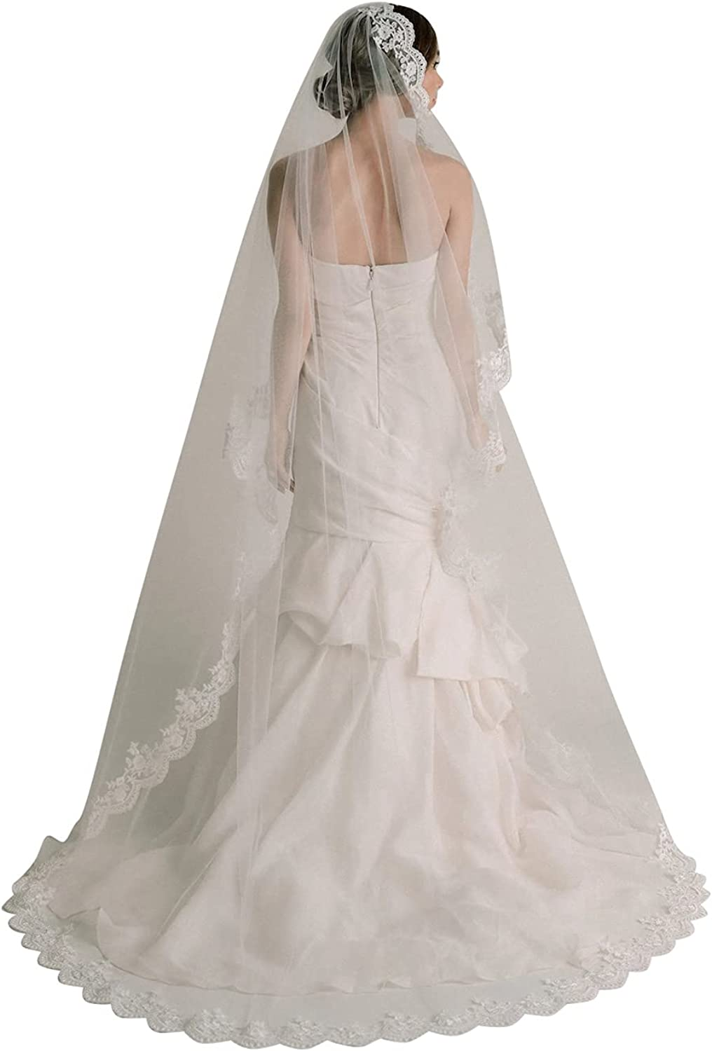 Cathedral Wedding Veils for Brides 1 Tier Elegant Lace Edge Chapel with Comb