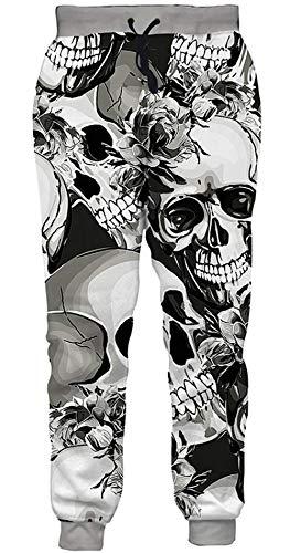 Loveternal Jogginghose Herren 3D Print Hosen Schädel Design Lustige Jogger Sport Pants Casual Baggy Skull Sweatpants für Frauen Männer M