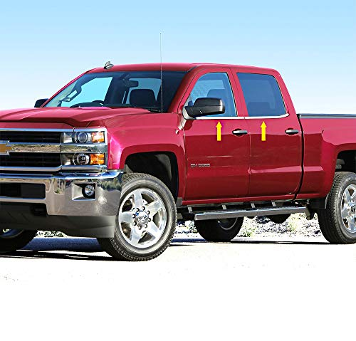 Works with 2019 Dodge Ram 1500 Crew Cab 4PC Stainless Steel Window Sill Cover Made in USA