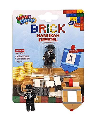 Izzy 'n' Dizzy Build Your Own Brick Dreidel - 35 Block Pieces, 4 Sticker Sets, 1 Figure - Binyan Blocks - Hanukah Toys, Games - Assorted Designs