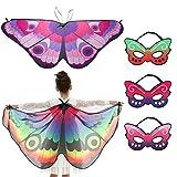 TMEOG 2Pcs Alas de Mariposa para niños Niños Niñas Niños Hada Mariposa Cape Wings Fiesta de Baile Favores Cosplay Accesorio Encubrimiento Vestidos de Lujo con 3Pcs Máscaras (FE 2 Wings+3 Mask)