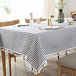 commercial AMZALI striped tablecloth, tassel, cotton, linen, stain, dustproof, waterproof tablecloth … stain resistant tablecloths