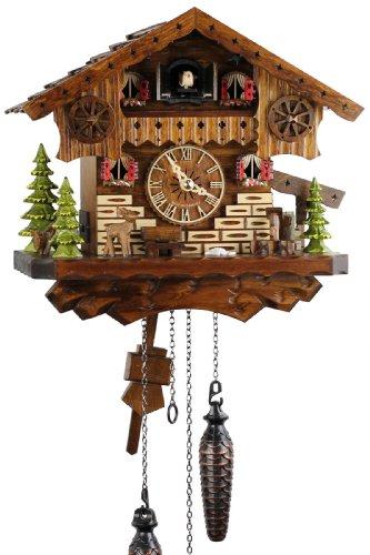 Eble, 21448, orologio a cucù, in vero legno, alimentato a batterie, movimento al quarzo, suona il richiamo del cuculo, a forma di casa della Foresta Nera, 35 cm