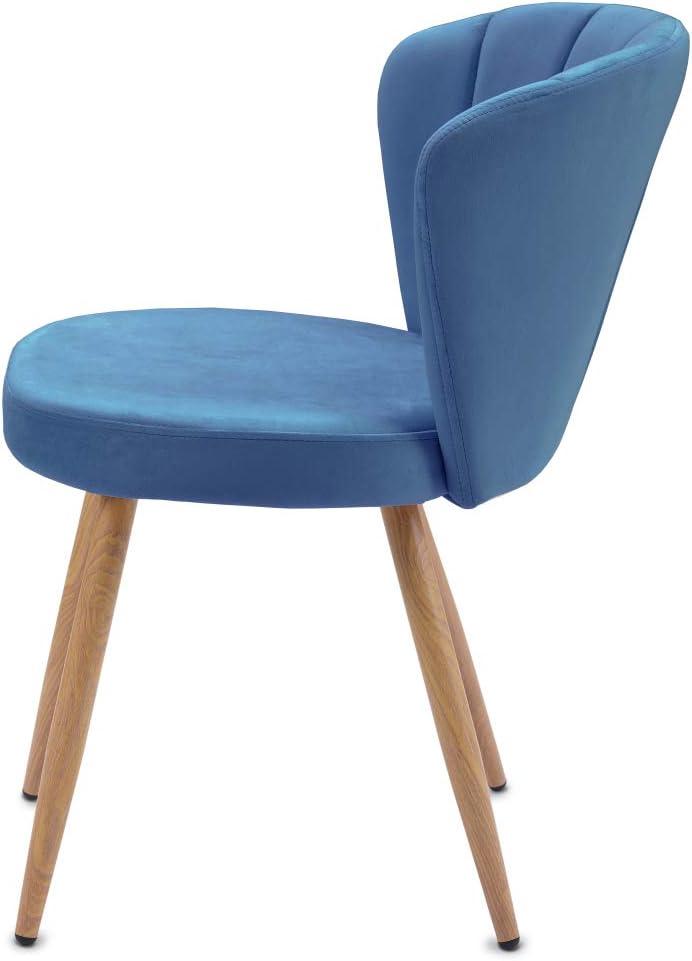 Xueliee Lot de 1 ou 2 chaises de salle à manger en tissu velours Oyster avec dossier cousu pour salon ou chambre à coucher Rose Bleu - 2 Pièces.
