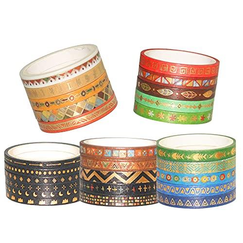 YUBBAEX 26 Rolls Indian Washi Tape Set, 5MM Wide Folk Totem Foil Gold Thin Decorative Masking Washi Tapes for Bullet Journal,Scrapbook, Planner, DIY Crafts