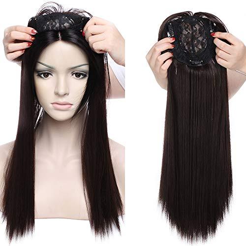 Clip in Extensions Haarteil Topper Toupet wie Echthaar Perücken mit 3 Clips für Frauen Glatt Dunkelbraun 17
