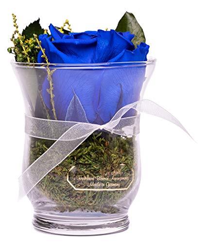 Rosen-Te-Amo, Arreglo Floral Hecho a Mano: 1 Rosa eterna Premium Azul finamente combinada con follaje Decorativo 100% Natural. Flores preservadas: Regalos para San Valentín Novia o Regalos Navidad