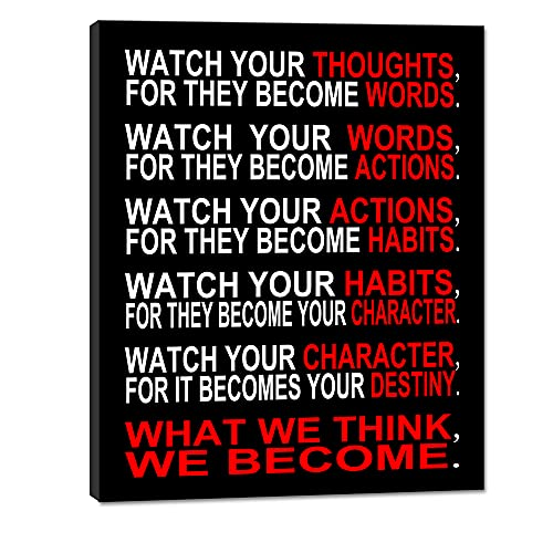 Pyradecor Watch Your Thoughts Motivational Classroom Poster Modern Canvas Prints Wall Art Paintings Ready to Hang for Office Living Room Home Decorations Stretched Pictures Artwork