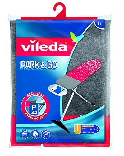 Vileda Park & Go - Funda de planchar, funda con zona parking, forro metalizado y ajustable, zona extra resistente para apoyar la plancha, medidas: 130 x 45cm, color verde y gris