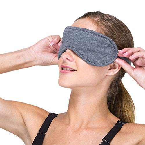 Cottonique Hypoallergenic Sleep Eye Mask Made from 100% Organic Cotton (Melange Grey, Free Size)