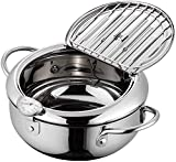 Japanese-style Deep Fryer Pot, 304 Stainless Steel Tempura Deep Frying Pan With Thermometer, Lid, Oil Drip Drainer Rack | Nonstick Tempura Fryer for Chicken French Fries Fish and Shrimp Oil Frying