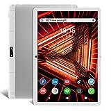 Tablet 10.1 Pulgadas Android 9.0 3G teléfono tabletas con 2 GB de RAM 32 GB ROM Dos Ranura para Tarjetas SIM y Dos cámara 5MP WiFi Bluetooth GPS Quad Core HD Touchscreen ZONKO 10'Tableta de Plata