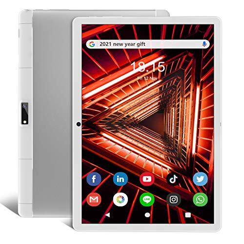 Tablet Android 9.0 Pie, Tablet 10 pollici 3G Tablet Chiamate, 32 GB ROM Certificazione Google GSM, Dual SIM, Dual Camera, 6000 mAh, Wi-Fi, Bluetooth, Bianco