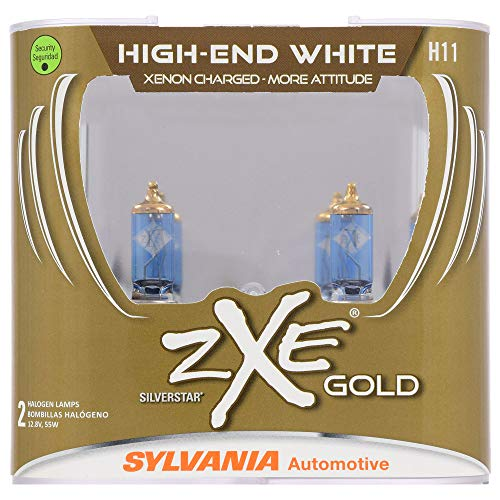 SYLVANIA - H11 (64211) SilverStar zXe GOLD High Performance Halogen Headlight Bulb - Headlight & Fog Light, Bright White Output, Best...