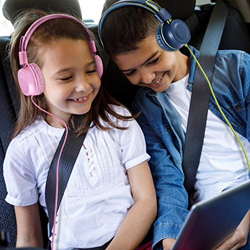 POWMEE M2 Kids Headphones Wired Headphone for Kids,Fold   able Adjustable Stereo Tangle-Free,3.5MM Jack Wire Cord On-Ear Headphone for Children/Teens/Girls/School/Kindle/Airplane/Plane/ (Blue)