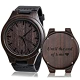 Engraved Wooden Watch Unique Wedding Anniversary Gifts for Husband Boyfriend Until The End of Time