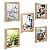 Blusong Set da 5 Cornici per Foto in Legno Multiple da Parete, Portafoto da Tavolo, Moderne Eleganti 10x15 cm Rovere