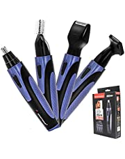 Recortador de vello,4 en 1 Nariz y Orejas de Recortadora Cejas Cortapelos Para Nariz Resistente al Agua (Azul)