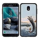 NakedShield Black Bumper Case Compatible for Samsung Galaxy J7 2018,J7(V 2nd,Star,Aura,Crown),Fishing Print,Ultra Lighweight Slim Hard Shell TPU Bumper Hybrid,Designed in USA