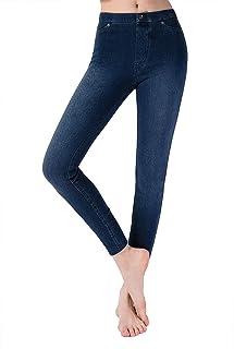 Erillim Denim Leggings for Women High Waisted with Pockets, Skinny Jean Leggings Classic Indigo Jeggings for Girls