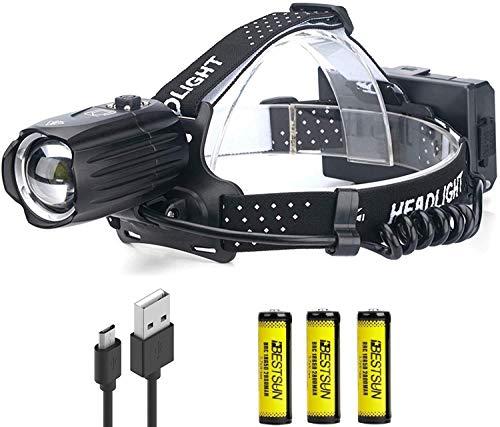 XHP90.2 - Linterna frontal recargable por USB, 10000 lúmenes, alta potencia, foco ajustable, impermeable, con batería para trabajo, senderismo, camping, pesca