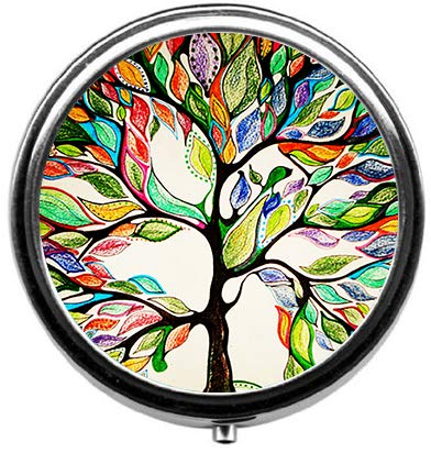 BeeGogo - Tree of Life Gorgeous Like Leather Custom HOT Sales Stainless Steel Round Pill Box Medicine Vitamin Organizer Holder Decorative Box