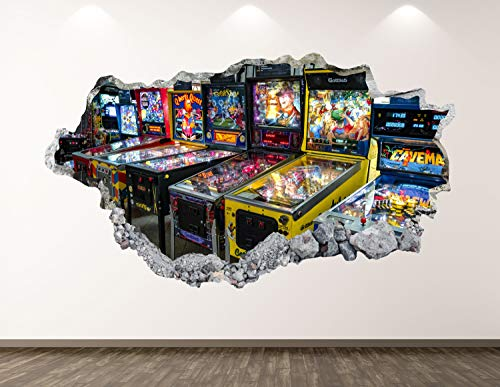 3D Wall Sticker, Removable Wall Mural Decals, Wall Art Decor for Livingroom Bedroom Nursery, Pinball - Arcade Game Smashed Wall Decal - 42' at the Longest End