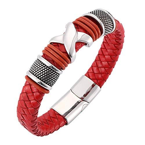 WQZYY&ASDCD Pulseras Brazalete Moda para Hombre, Mujer, Pulseras, Joyería, Rojo, Trenzado, Pulsera De Cuero, Acero Inoxidable, Encanto, Bracele-Red_Wearing_Length_205Mm