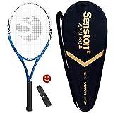 Senston 27 inch Tennis Racket Professional Tennis Racquet,Good Control Grip,Strung with Cover,Tennis Overgrip, Vibration Damper(Blue White)