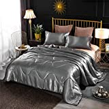 A Nice Night Satin Silky Soft Quilt Sexy Luxury Super Soft Microfiber Bedding Comforter Set Full/Queen, Light Weighted (Silver, Queen(88-by-88-inches))