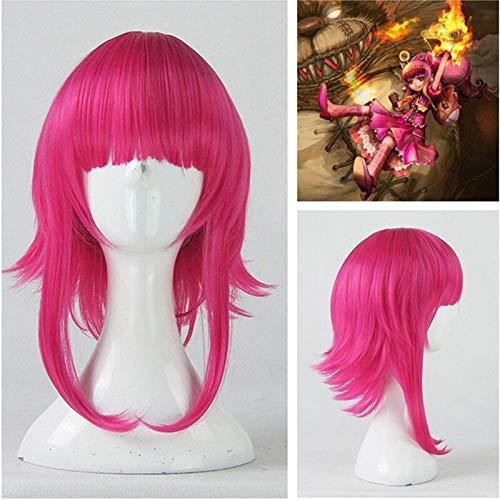 Juego LOL Annie Hastur personaje 45cm rosa rojo pelo resistente al calor Cosplay disfraz peluca + gorro de peluca gratis