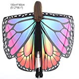 Christmas Party Soft Fabric Butterfly Wings Shawl Fairy Ladies Nymph Pixie Costume Accessory ((L) 168cm(W) 135cm/ 66' 53', Rainbow)