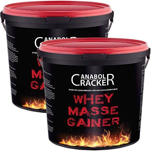 2X Whey Masse Gainer, Eiweißpulver, 3000g Eimer (6000g Gesamt), Erdbeere und Vanille, Protein Shake